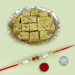 Exclusive Raksha-bandhan Gift of Rakhi with Soan Papdi
