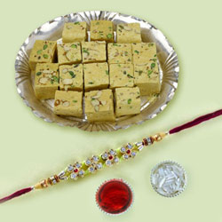 Jewelled Rakhi with Soan Papdi