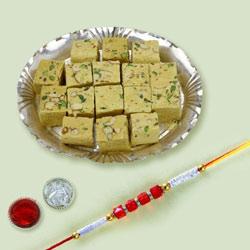 Classy Rakhi with Delicious Soan Papdi