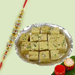 Stone Rakhi with Soan Papdi