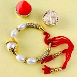 Fashionable Golden Bracelet Rakhi