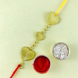 Fancy Triple Heart Rakhi with Roli Tika n Chawal