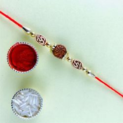 Beautiful Rudraksh Rakhi with Greetings Card