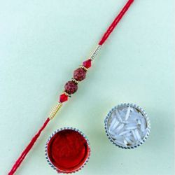 Exclusive Rudraksh Rakhi with Roli Tika n Chawal