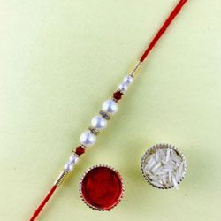 Lovely Gift of Decorative Pearl Rakhi