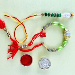 Fancy Rakhi Lumba Set for Bhaiya Bhabhi with Greetings Card