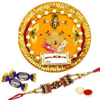 Astonishing Gift Set of Rakhi Thali with 1 Rakhi, Roli Tikka and 2 Chocolates for your Dear Brother on Rakhi<br><br>