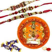 Magnificent Gift Pack of Rakhi Thali and Chocolates along with 3 Rakhi, Roli and Tikka for Rakhi Celebration<br><br><br>
