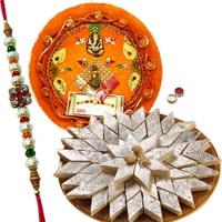 Dazzling Gift Set of Rakhi Thali and Kaju Katli along with Rakhi, Roli and Tikka for your Dear Brother on Rakhi<br><br>