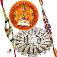 Trendy Rakhi Thali with 2 Rakhi and 250 gr. Kaju Pista Roll along with Roli and Tikka for your Beloved Brother on Raksha Bandhan<br><br>