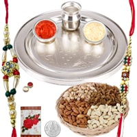 Charismatic Rakhi Celebration Gift Set of Designer Silver Plated Rakhi Thali and Dry Fruits Platter along with 2 Rakhi, Roli and Tikka