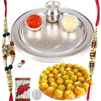 Yummy Collection of Boondi Ladoo and Rakhi Thali Set with 2 Rakhi, Roli and Tikka on Raksha Bandhan<br>