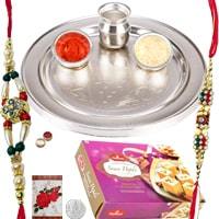 Superb Combo Gift of Rakhi Thali Set and Haldiram Soan Papdi along with 2 Rakhi, Roli and Tikka on Raksha Bandhan<br>