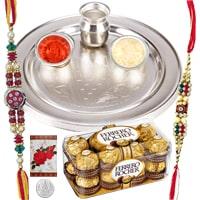 Amazing Rakhi Gift Collection of Twelve pieces Ferrero Rocher Chocolate Box and Decorative Rakhi Thali Set with 2 Rakhi, Roli and Tikka
