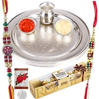 Rocking Rakhi Gift Set of 3 pc. Ferrero Rocher Chocolate Pack and Rakhi Thali Set along with 2 Rakhi, Roli and Tikka filled with Happiness<br><br>