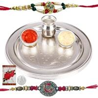 Beautiful Rakhi Special Gift of Silver Plated Rakhi Thali Set along with 2 Rakhi, Roli and Tikka
