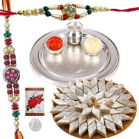 Ravishing Display of Silver Plated Thali Set and Delicious Kaju Katli along with 2 Rakhi, Roli and Tikka for the Occasion of Raksha Bandhan<br>