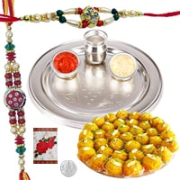 Attractive Combo Gift of Decorative Rakhi Thali Set and Delicious Boondi Ladoo along with 2 Rakhi, Roli and Tikka for Rakhi Celebration<br><br>