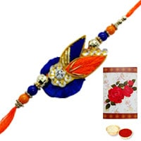 Fantastic Rakhi Special Gift of One Fancy Rakhi and a Handmade Paper Rakhi Card along with Roli and Tikka for your Dear Brother (Non Tracking)<br>