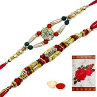 Beautiful Arrangement of Two Designer Ethnic Rakhi and a Handmade Paper Rakhi Card along with Roli and Tikka for the Occasion of Raksha Bandhan (Non Tracking) <br><br>
