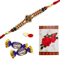 Enthralling Display of Lovely Ethnic Rakhi and Chocolates along with Roli and Tikka for Sacred Raksha Bandhan Celebration<br><br>