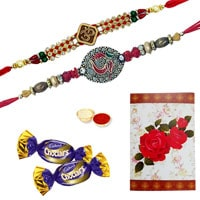 Beautiful Raksha Bandhan Special Gift of 2 Auspicious Ethnic Rakhi and Chocolates along with Roli and Tikka