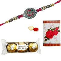Magnificent Gift Set of Ferrero Rocher Chocolates (Three Pcs.) and 2 Attractive Ethnic Rakhi with Roli and Tikka for Rakhi Celebration<br><br>