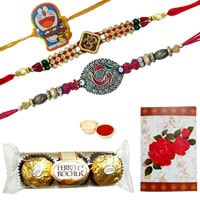 Remarkable Rakhi Greetings Gift of Delicious 3 Pcs. Ferrero Rocher Chocolates, 2 Ethnic Rakhi and 1 Sweet Kids Rakhi along with a free Roli and Tikka<br>