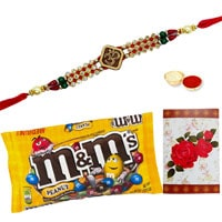 Wonderful Pack of 1 Ethnic Rakhi and Popular 57 gr. M N M Chocolates Bag along with free Roli and Tikka for your Loving Brother on Raksha Bandhan