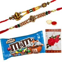 Exclusive Raksha Bandhan Gift of M N M Chocolates (57 gr.) Bag and 2 Amazing Ethnic Rakhi along with a free Roli and Tikka filled with Happiness<br><br>