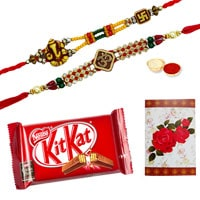 Mind-Blowing Brotherly Love Gift of Delectable Kitkat Chocolate Bar (57 gr.) and 2 Ethnic Rakhi along with free Roli and Tikka for Rakhi Celebration<br>