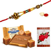 Attractive Designer Ethnic Rakhi and Ghiradelli Chocolates Pack (150 gr.) with Roli N Tilak for Rakhi Celebration<br>
