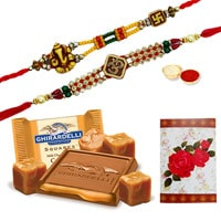 Fancy Two Ethnic Rakhi and Ghiradelli Chocolates Pack (150 gr.) with Roli N Tilak for Rakhi Celebration