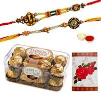 Marvelous Display of Two Ethnic Rakhi and Twelve Pieces of Ferrero Rocher Chocolates Box with Roli N Tilak for Rakhi Celebration