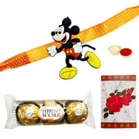Astonishing One Kids (Mickey Mouse / Mini Mouse / Pooh) Rakhi and Three Ferrero Rocher Chocolates with Roli N Tilak for Rakhi Celebration