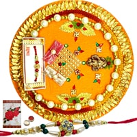 Auspicious Display of Decorative Rakhi Thali and One Rakhi with Free Roli N Tilak for Rakhi Celebration