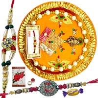 Auspicious Selection of Decorative Rakhi Thali and Two Rakhi along with Chocolates and free Roli N Tilak on Raksha Bandhan