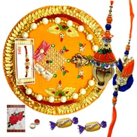 Classy Rakhi Thali, Pair Rakhi Set for Bhaiya Bhabhi and 2 Chocolates along with free Roli N Tilak for Rakhi Celebration