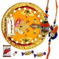 Classy Rakhi Thali, Pair Rakhi Set for Bhaiya Bhabhi and 2 Chocolates along with free Roli N Tilak for Rakhi Celebration