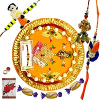 Traditional Rakhi Thali, 1 Pair Rakhi Set for Bhaiya Bhabhi, 1 Childrens Rakhi and 3 Chocolates along with free Roli N Tilak for Rakhi Celebration