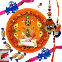 Beautiful Rakhi Thali, Rakhi and Lumba Set for Bhaiya Bhabhi, 2 Designer Kids Rakhi and 4 Chocolates along with free Roli N Tilak for Rakhi Celebration