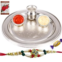 Exquisite Silver Plated Thali with One Rakhi and Chocolates along with free Roli N Tilak for Rakhi Celebration