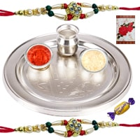 Traditional Silver Plated Thali with 2 Rakhi and Chocolates along with Roli N Tilak for Rakhi Celebration