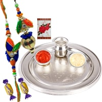 Attractive Gift of Silver Plated Thali, Bhaiya Bhabhi Rakhi Set and 2 Chocolates with Roli N Tilak for Rakhi Celebration