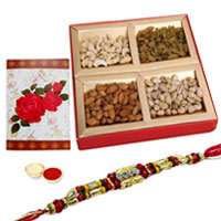 Wonderful Display of Ethnic Rakhi and Dry Fruits with Roli N Tilak on the Occasion of Rakhi