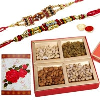 Outstanding Present of 2 Designer Ethnic Rakhi and Dry Fruits Platter with Roli N Tilak for Rakhi Celebration