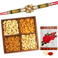 Exclusive Present of One Ethnic Rakhi and 250 gr. of Dry Fruits with Roli N Tilak on Raksha Bandhan