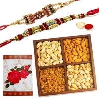 Graceful Gift of Two Ethnic Rakhi and 250 gr. of Dry Fruits with Roli N Tilak for your Brother