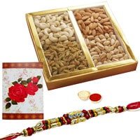 Remarkable One Ethnic Rakhi and 500 gr. of Dry Fruits with Roli N Tilak for Loving Bhaiya