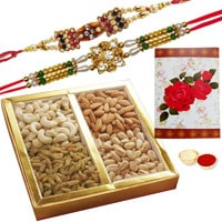 Designer Display of 2 Ethnic Rakhi and Dry Fruits Gift Set with Roli N Tilak for Rakhi Special